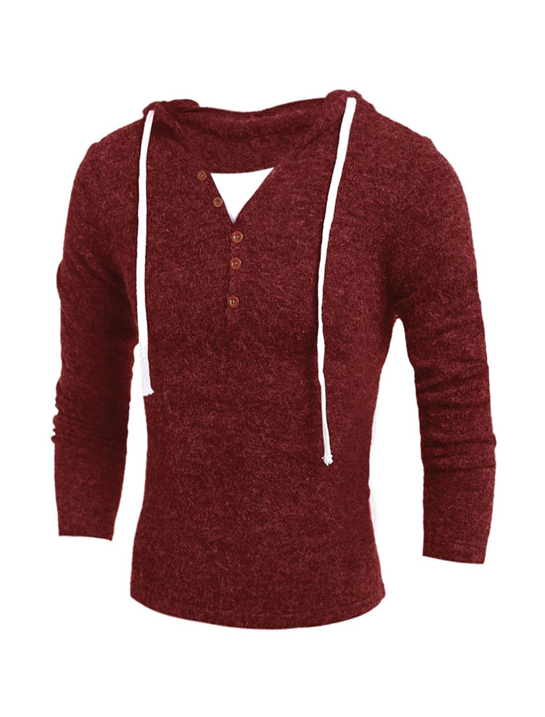 Man Drawstring Hood Button Decor Knit Shirt Red M
