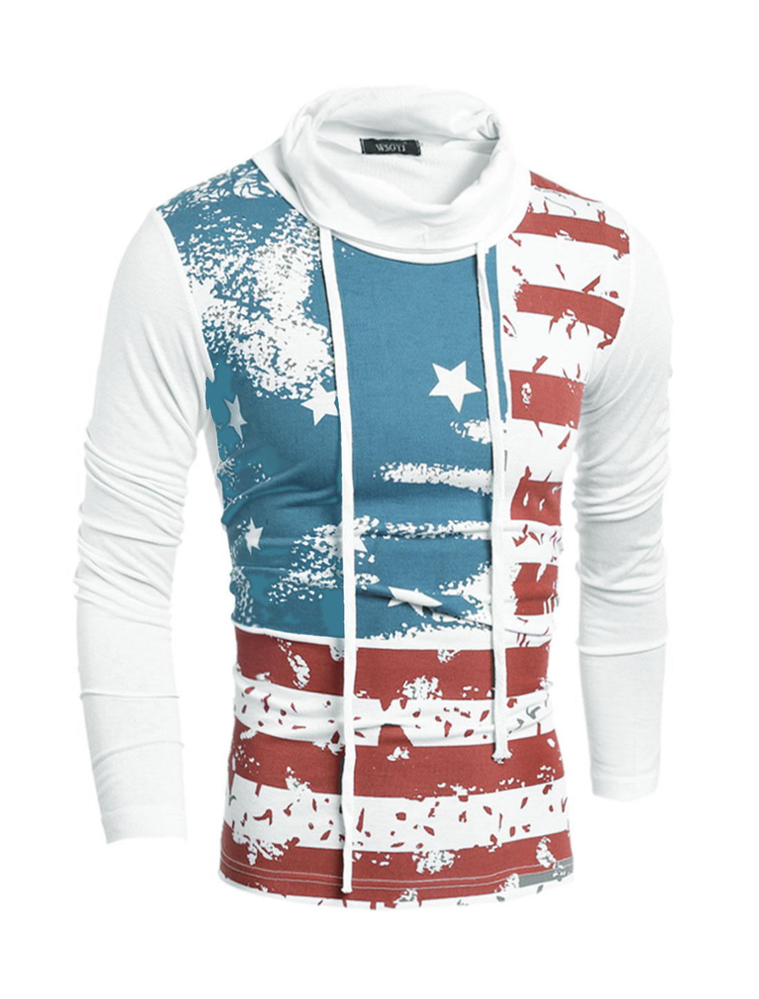 Man Drawstring Turtle Neck Stripes Stars T-Shirt White S