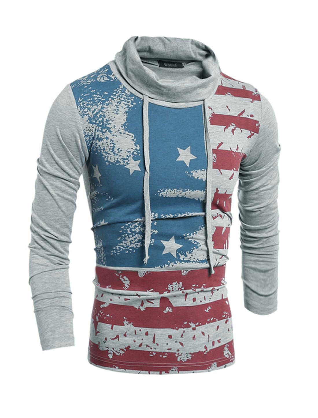 Man Drawstring Turtle Neck Stripes Stars T-Shirt Gray S