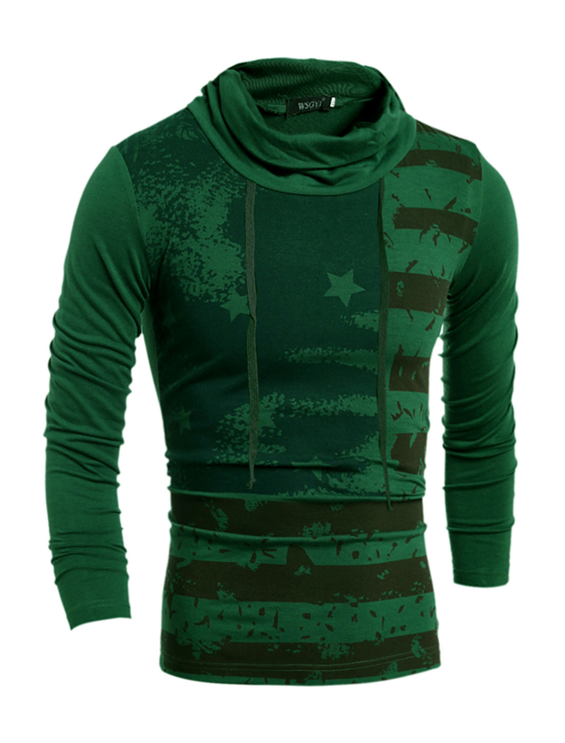 Man Drawstring Turtle Neck Stripes Stars T-Shirt Green S