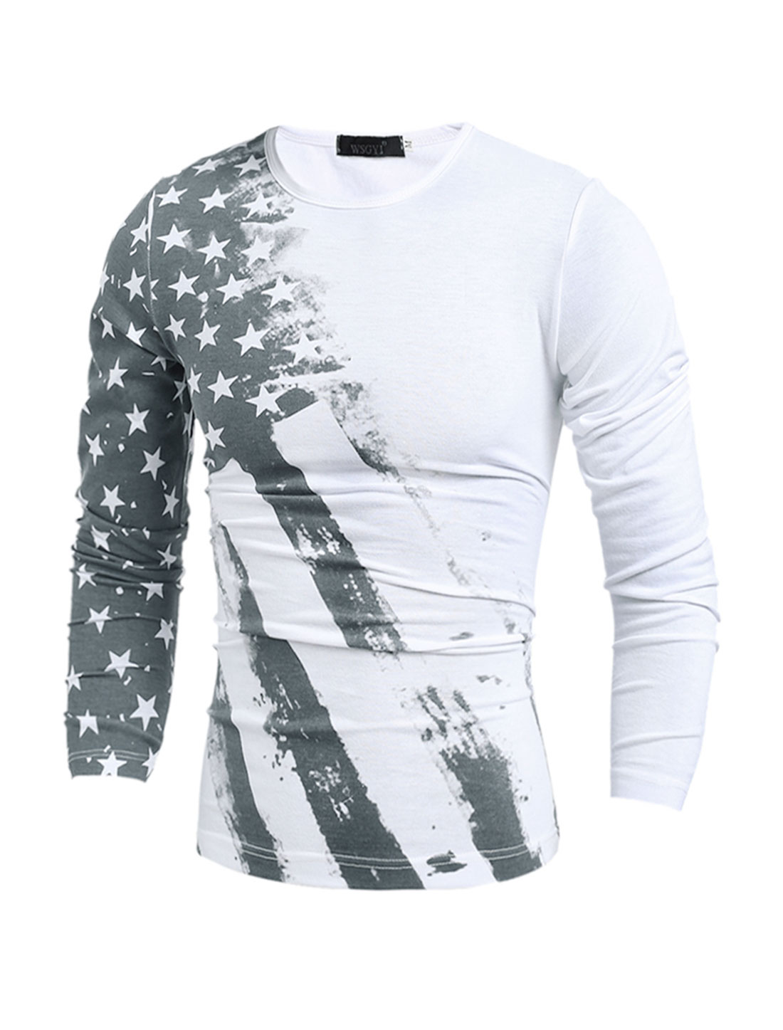 Man Slim Fit Long Sleeves Stars Striped T-Shirt White S