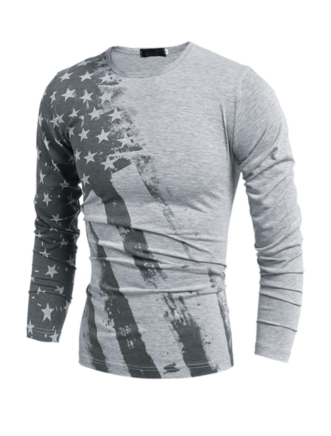 Man Slim Fit Long Sleeves Stars Striped T-Shirt Gray S