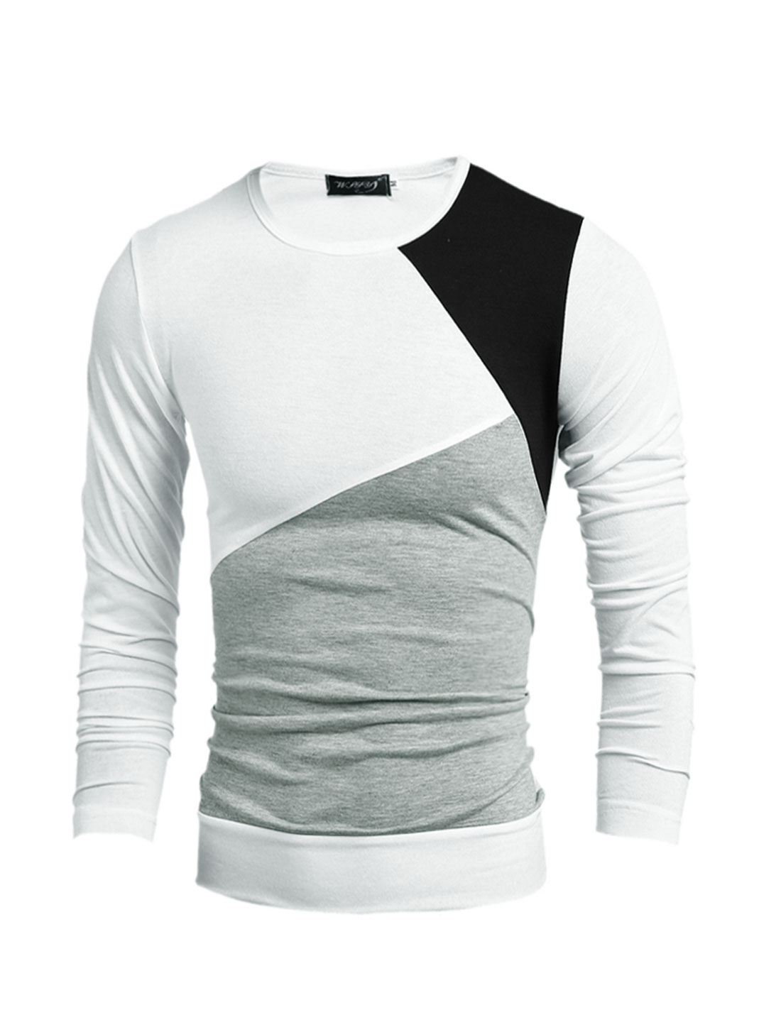 Man Slim Fit Long Sleeves Color Block Tee Shirt White S