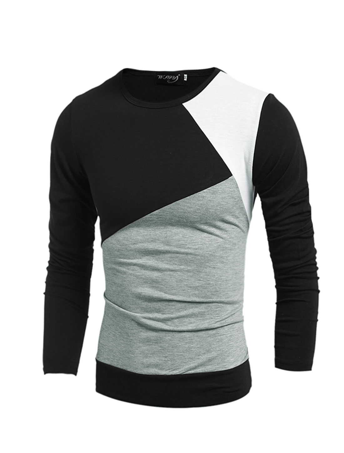 Man Slim Fit Long Sleeves Color Block Tee Shirt Black S
