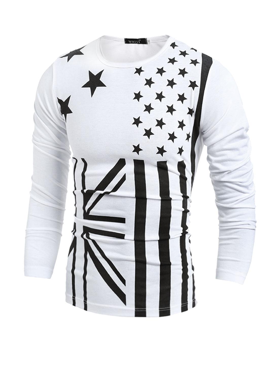 Man Crew Neck Stripes Stars Union Jack Flag Shirt White S
