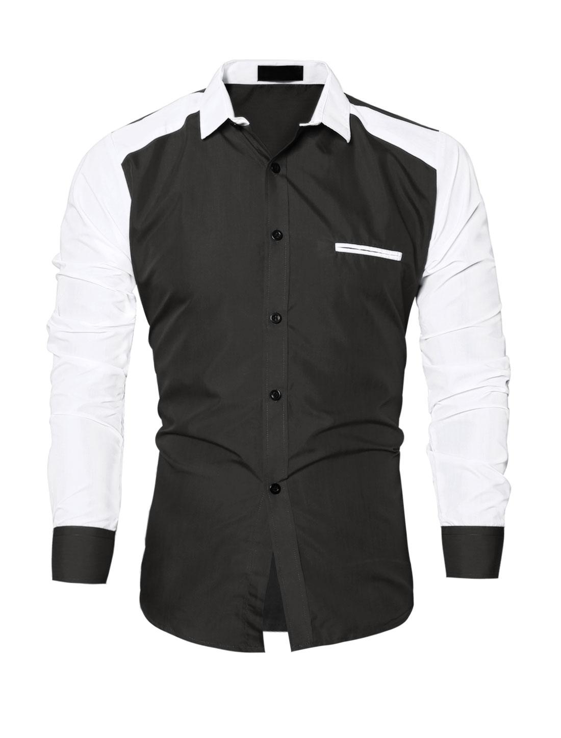 Men Collared Contrast Color Slim Fit Shirt Black M