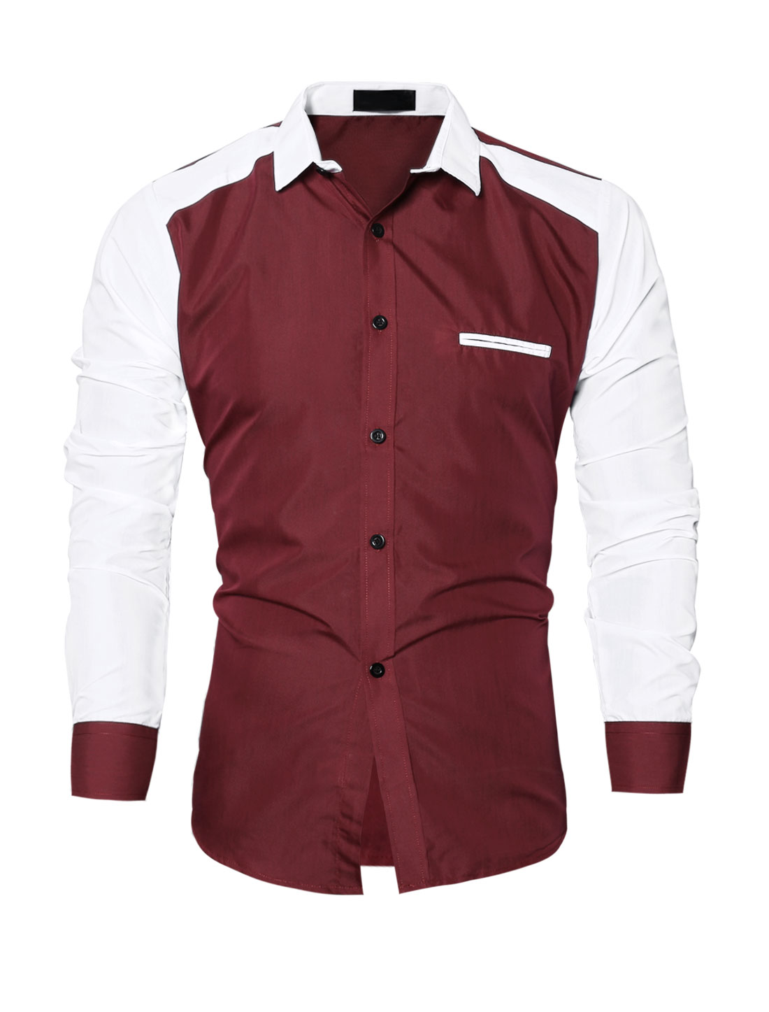 Men Collared Contrast Color Slim Fit Shirt Red M