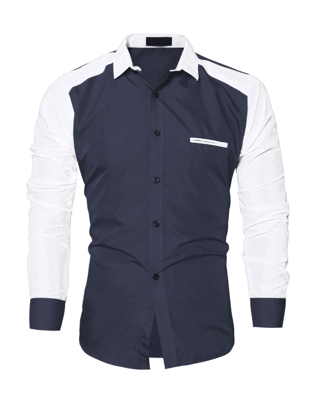 Men Collared Contrast Color Slim Fit Shirt Blue M