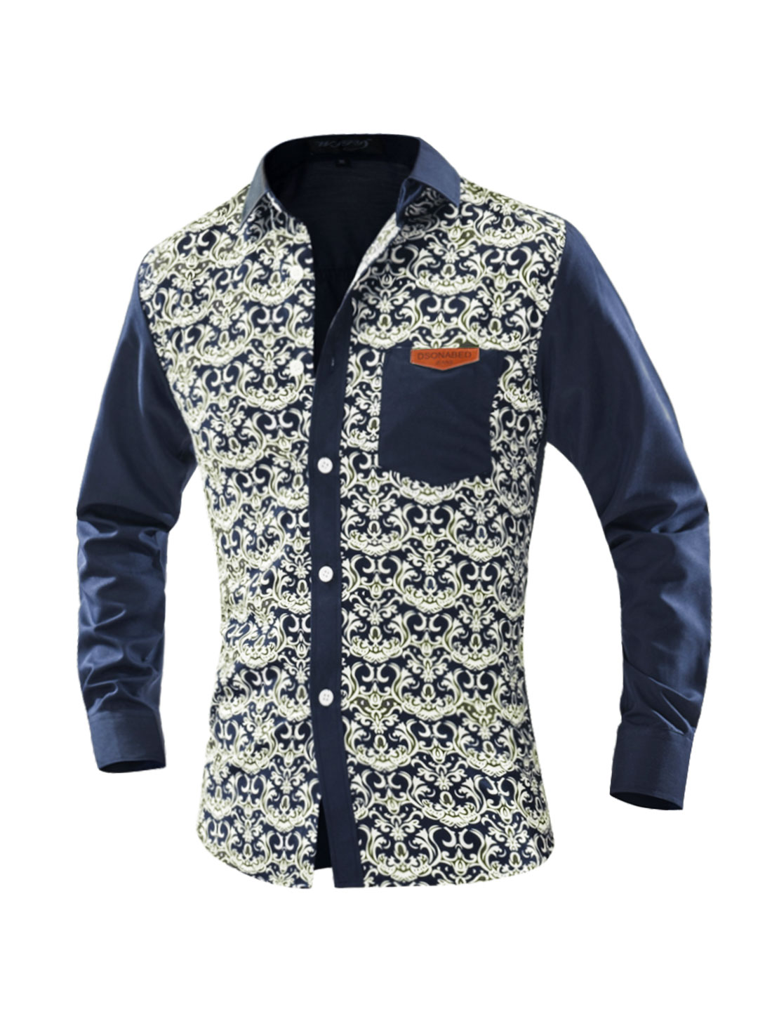 Men Collared Long Sleeves Novelty Slim Fit Shirt Beige M