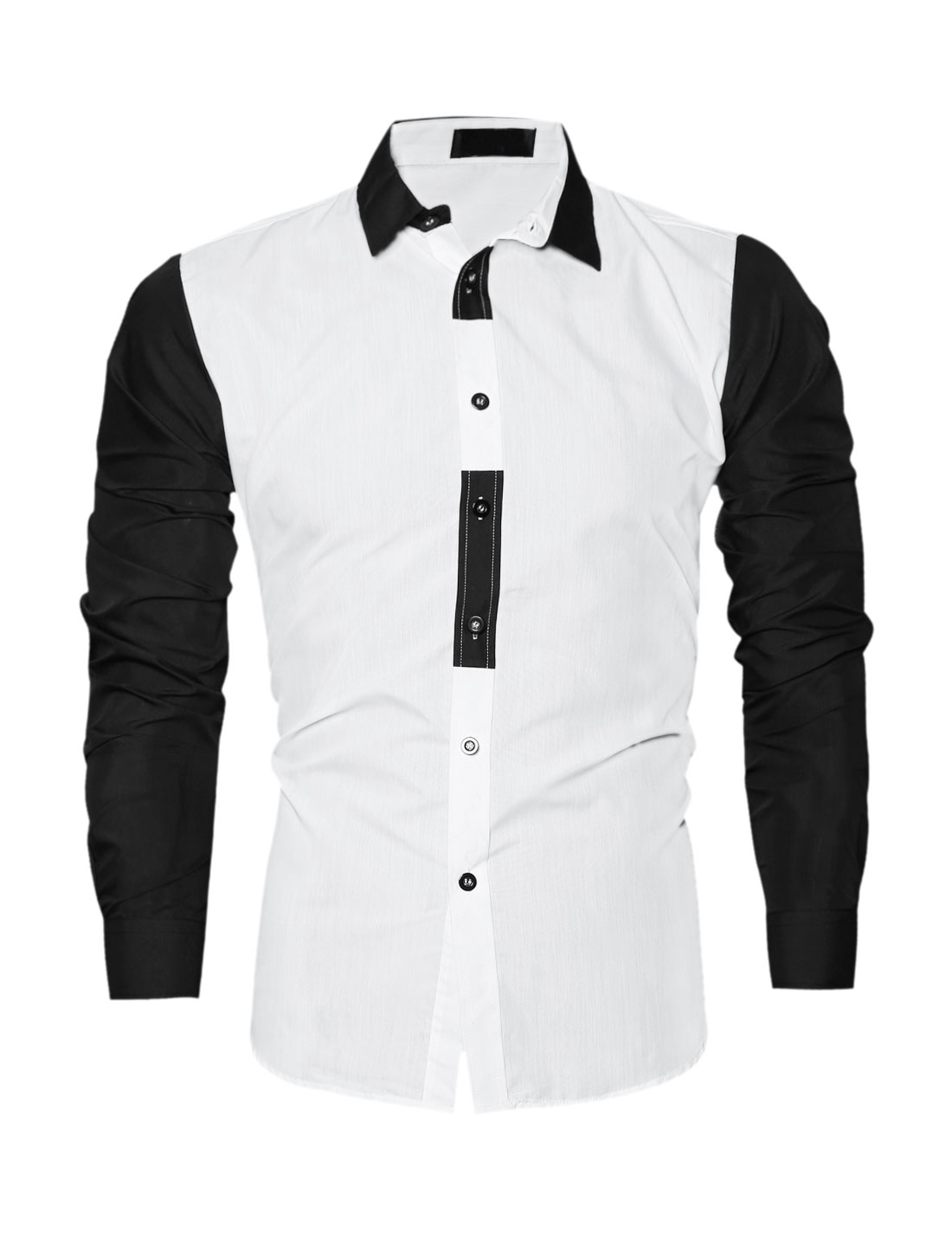 Men Collared Long Sleeves Color Block Slim Fit Shirt White M