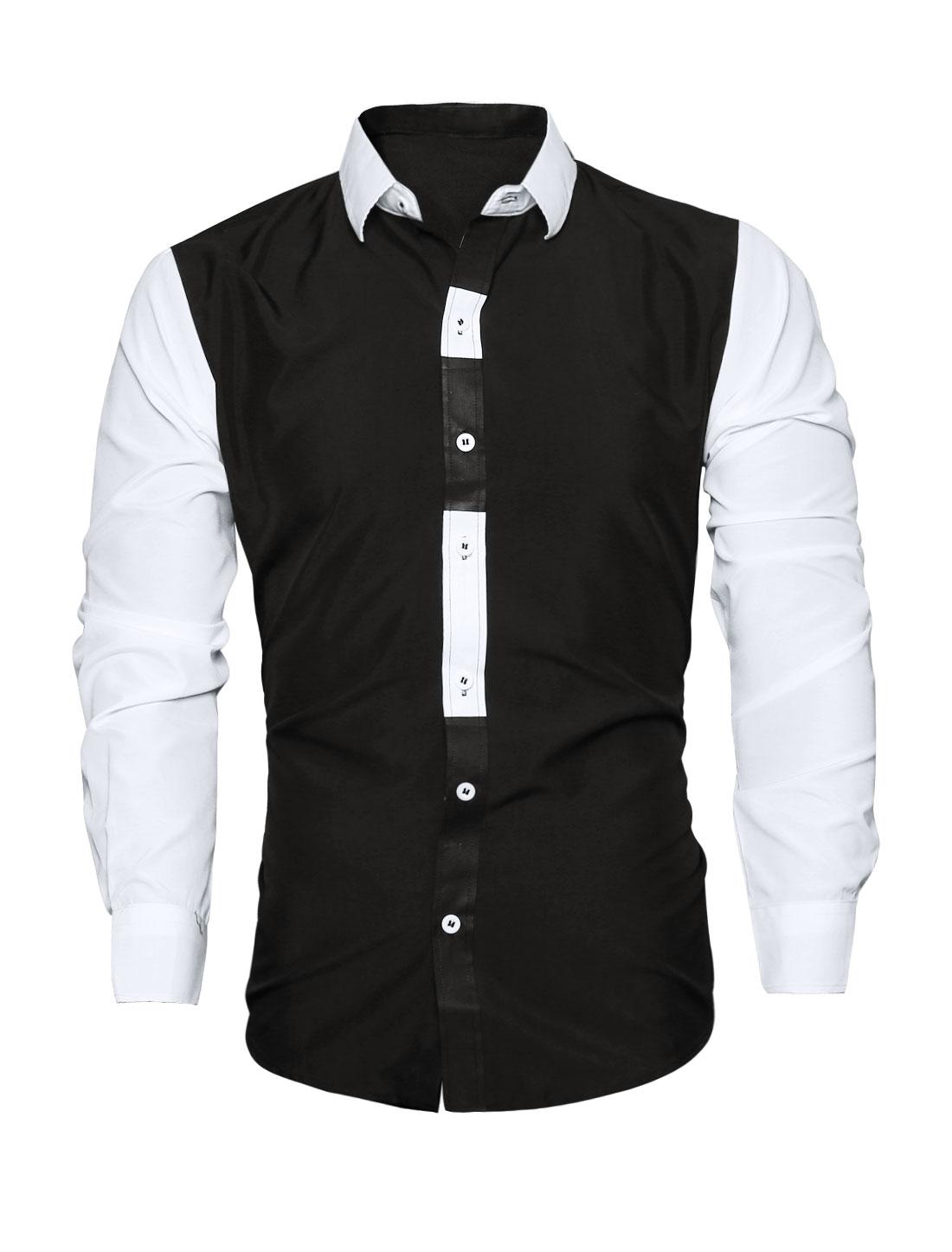 Men Collared Long Sleeves Color Block Slim Fit Shirt Black M