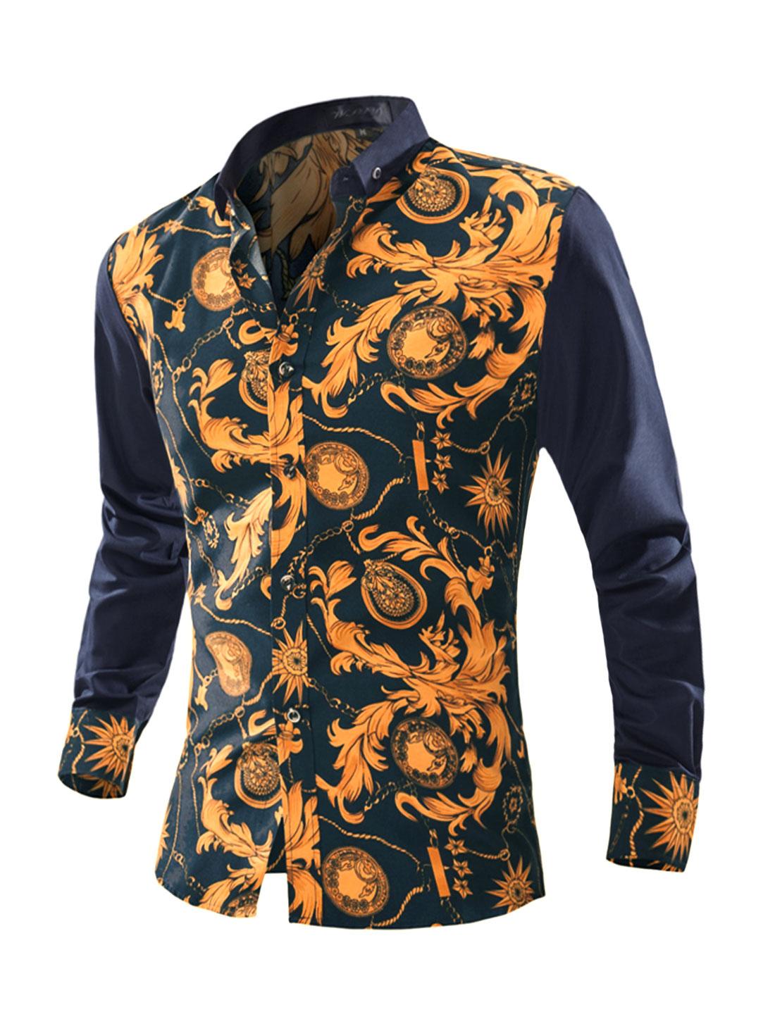 Men Long Sleeves Buttoned Slim Fit Novelty Shirt Blue M