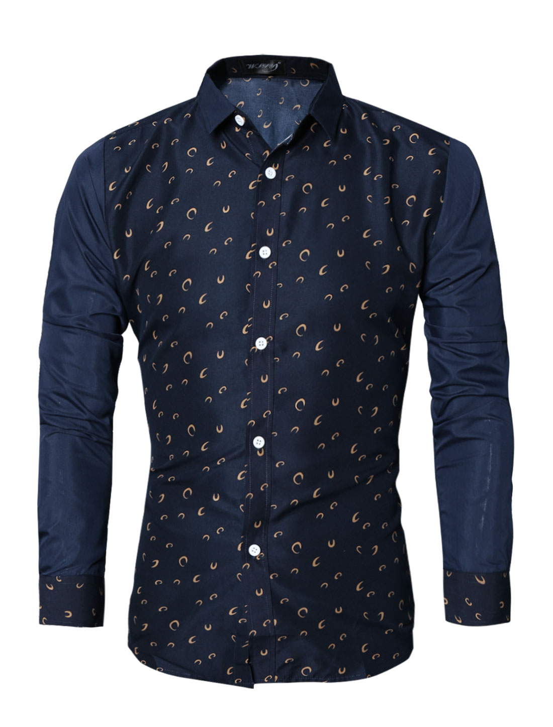 Men Collared Long Sleeves Novelty Slim Fit Shirt Blue M