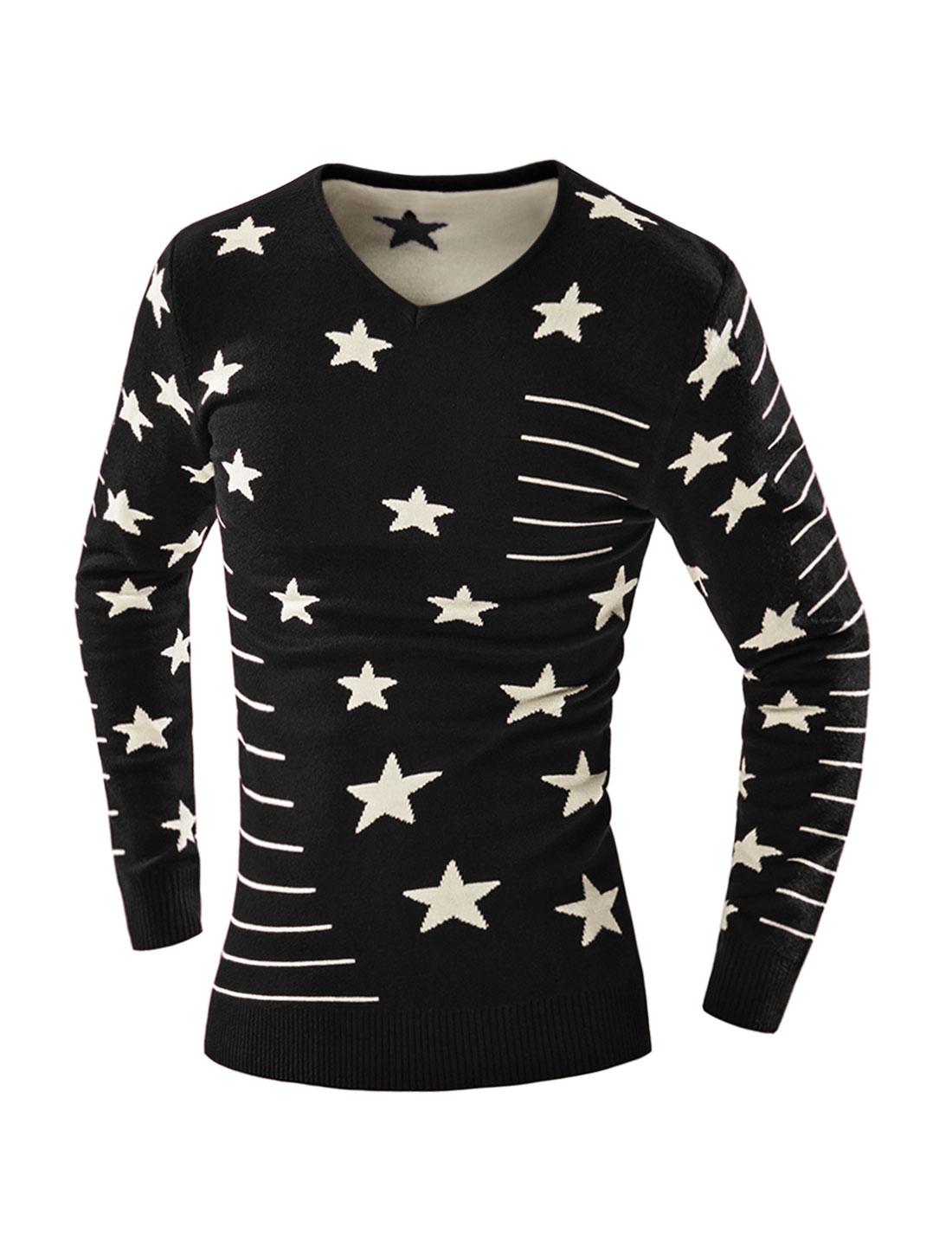 Man V Neck Slim Fit Striped Stars Knit Shirt Black M