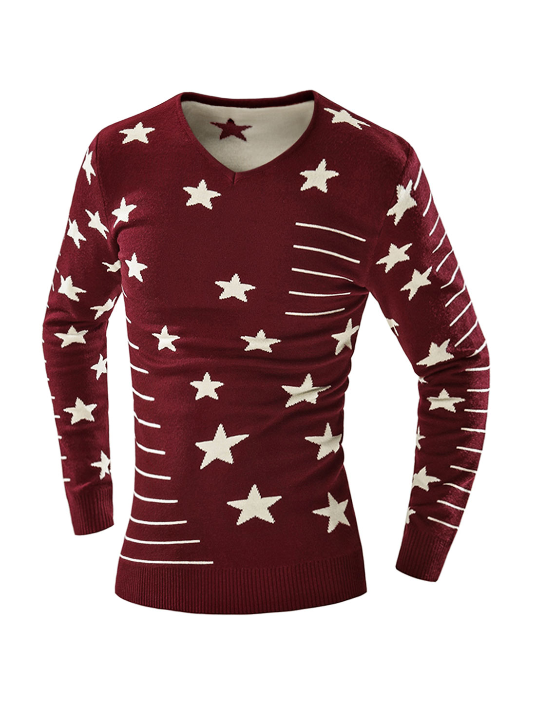 Man V Neck Slim Fit Striped Stars Knit Shirt Red M