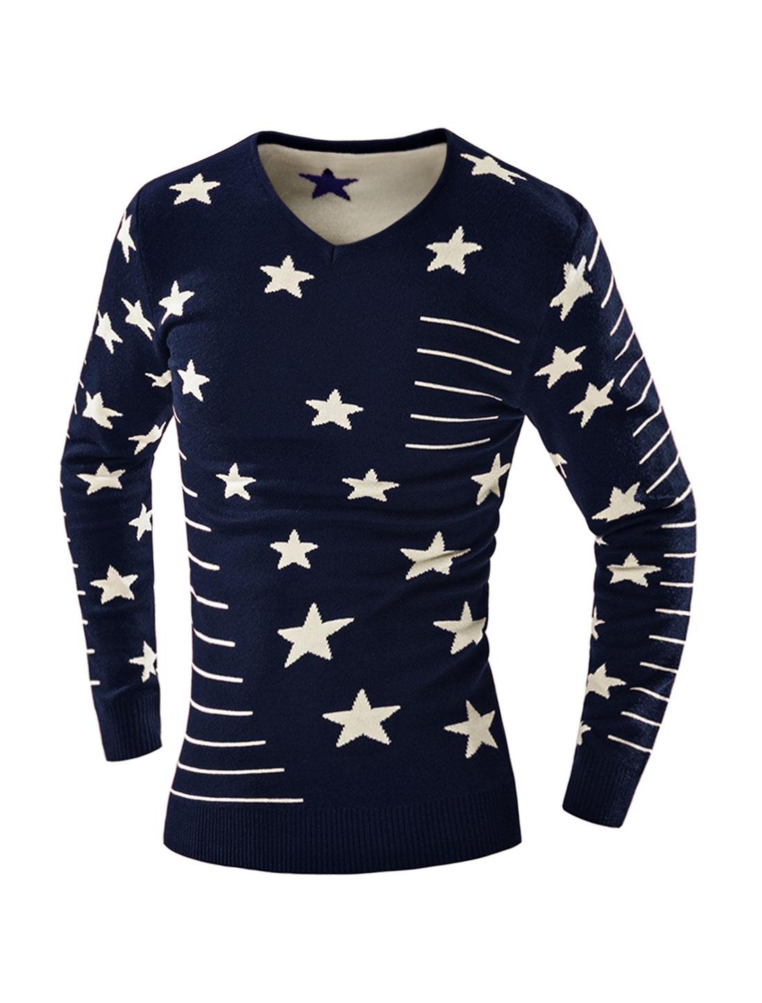 Man V Neck Slim Fit Striped Stars Knit Shirt Blue M