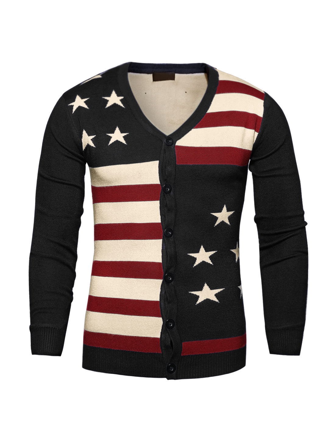 Man Contrast Color Striped Stars Knit Cardigan Black S
