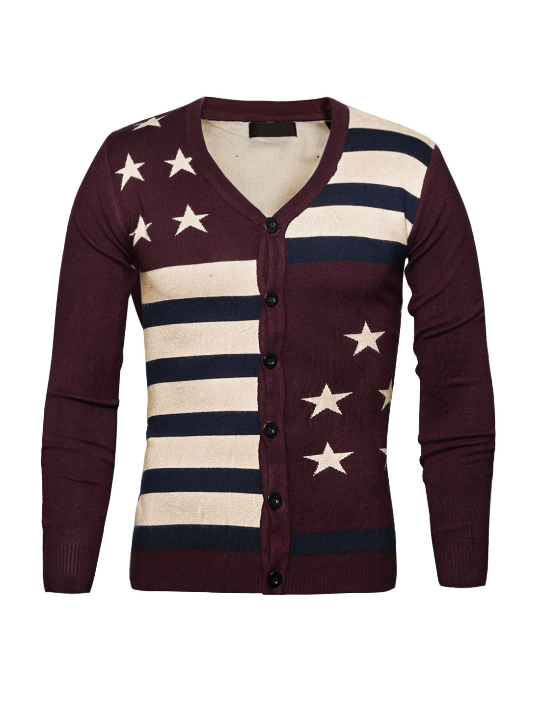 Man Contrast Color Striped Stars Knit Cardigan Red S