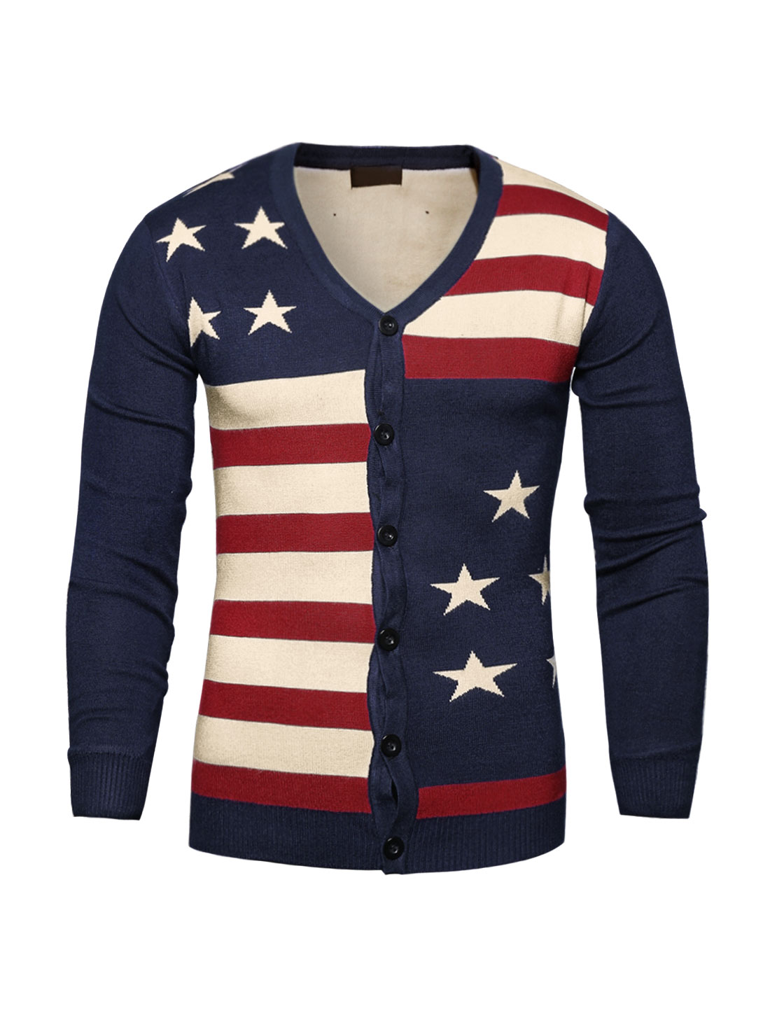 Man Contrast Color Striped Stars Knit Cardigan Blue S