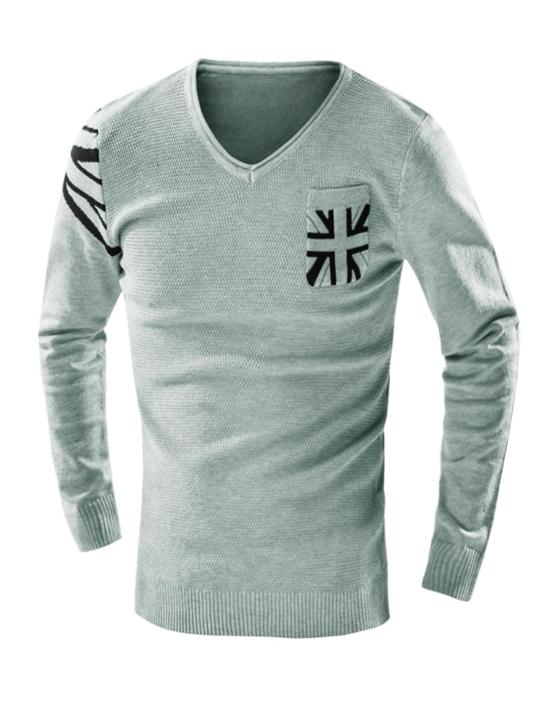 Man Union Jack Flag Knit Shirt w Pocket Light Gray