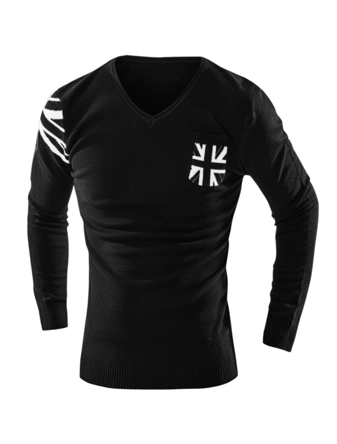 Man V Neck Union Jack Flag Knit Shirt w Pocket Black M