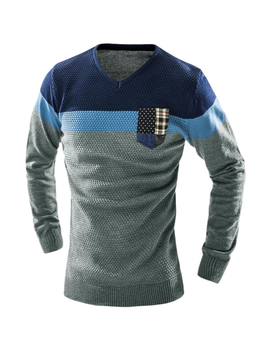 Man V Neck Color Block Knit Shirt w Pocket Dark Gray M