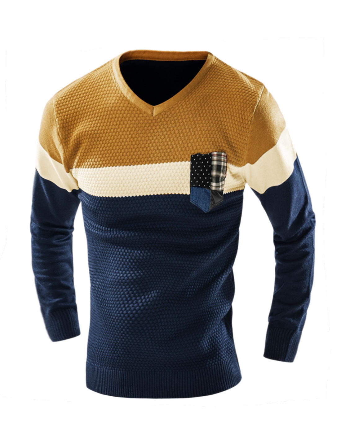 Man V Neck Contrast Color Knit Shirt w Pocket Blue M