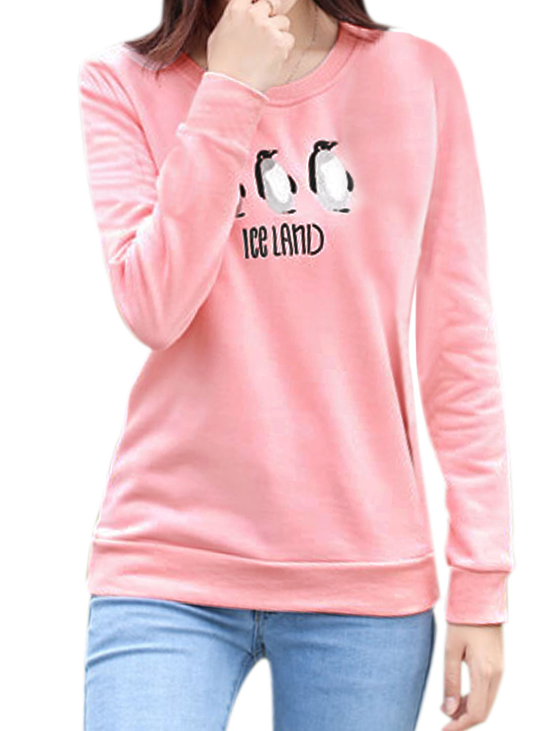 Woman Penguins Letters Embroidery Soft Lined Sweatshirt Pink M
