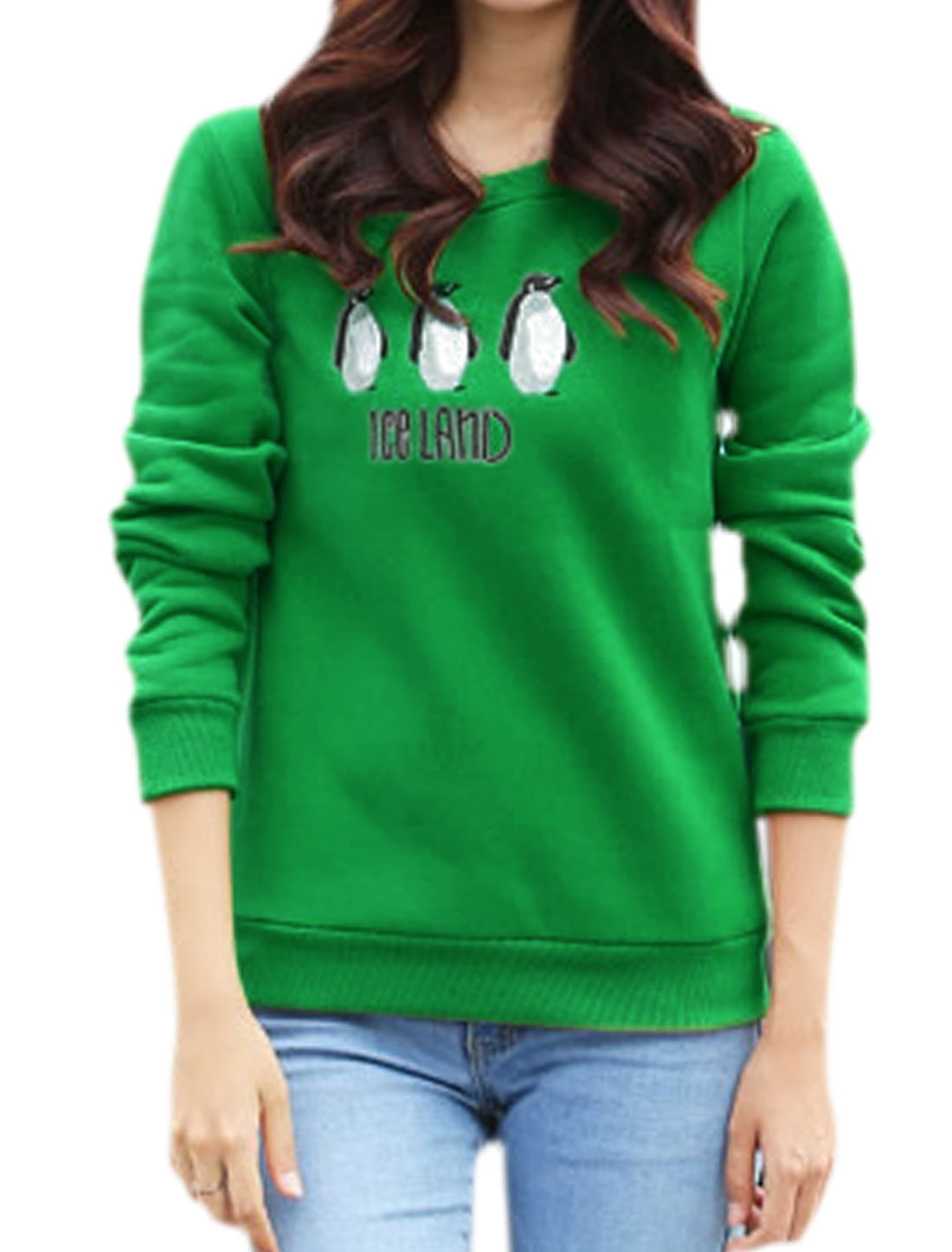 Woman Penguins Letters Embroidery Soft Lined Sweatshirt Green M