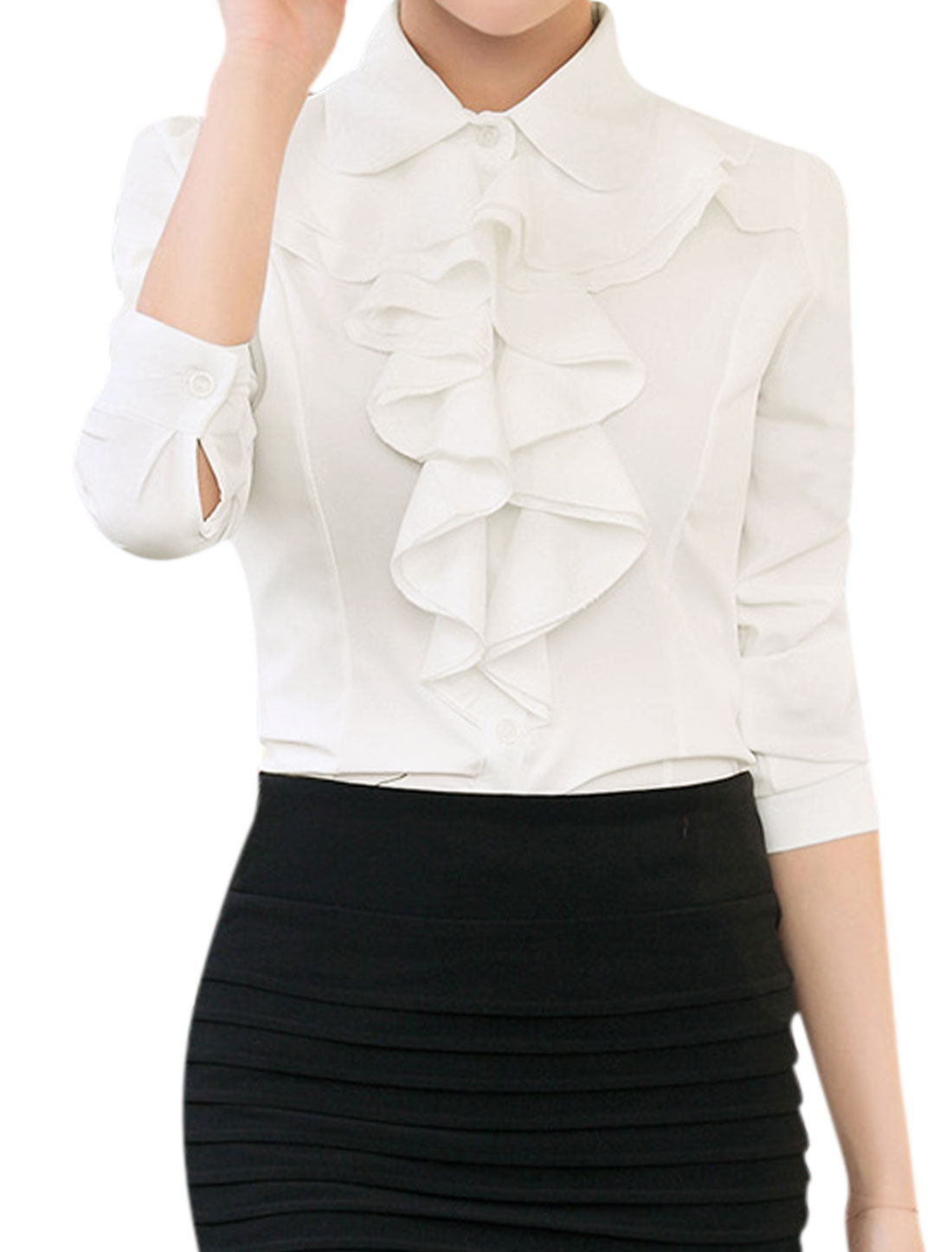 Ladies Collared Ruffled Slim Fit Button Up Shirt White M