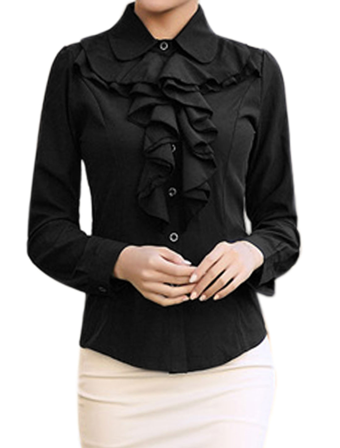 Ladies Collared Ruffled Slim Fit Button Up Shirt Black M