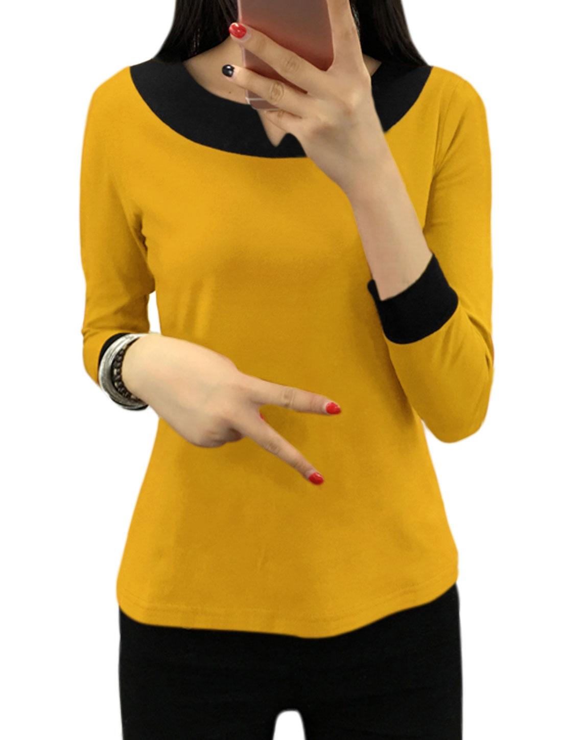 Women Split Neck Contrast Color Tee Shirt Yellow M