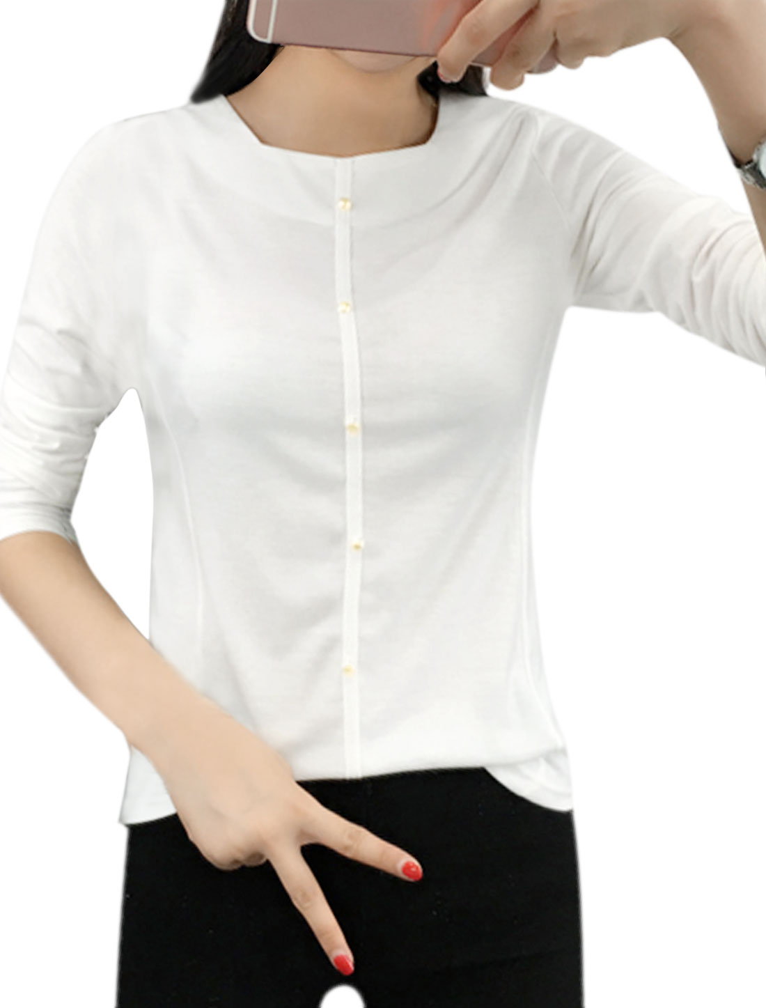 Ladies Square Neckline Beaded Slim Fit T-Shirt White M