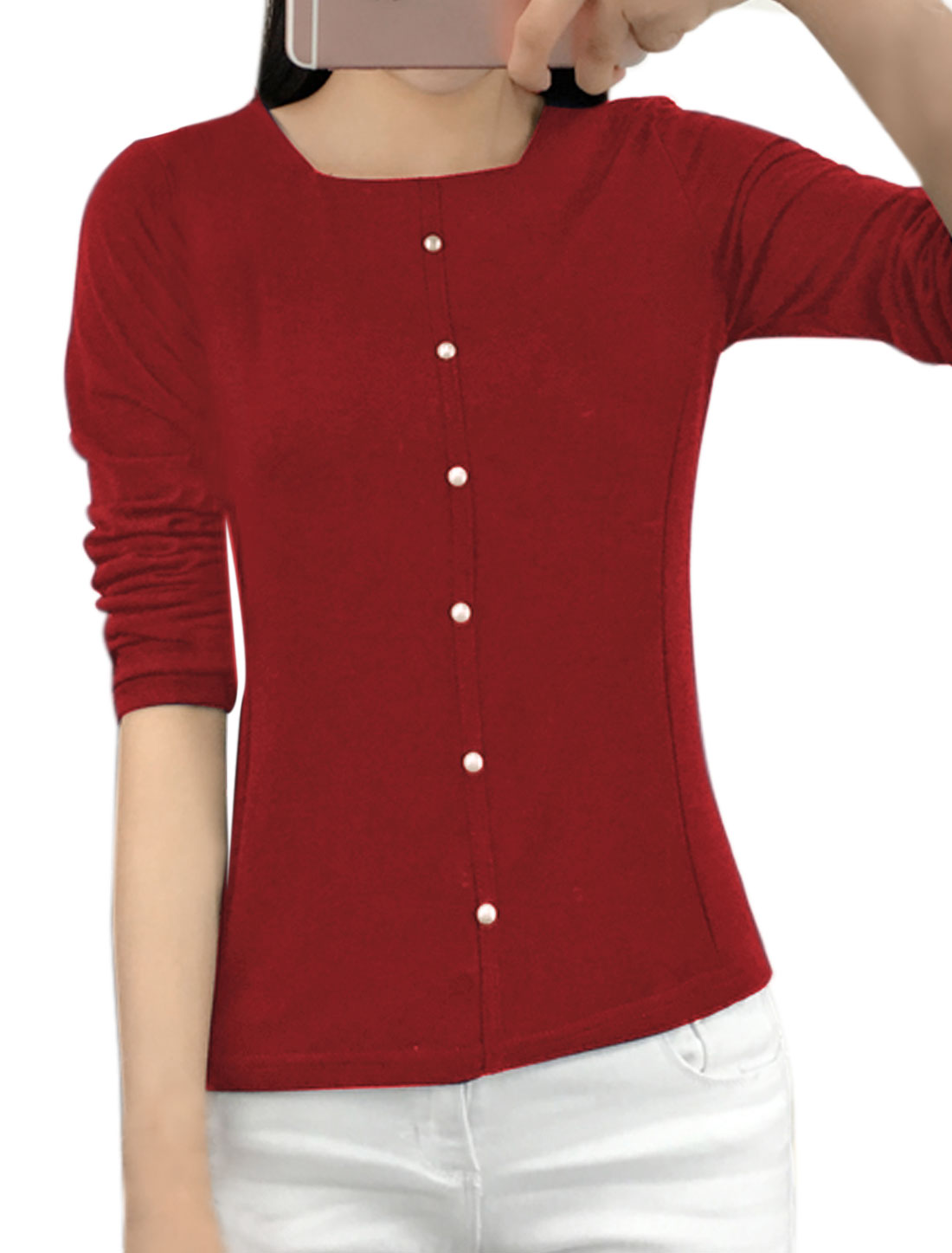 Ladies Square Neckline Beaded Slim Fit T-Shirt Red M