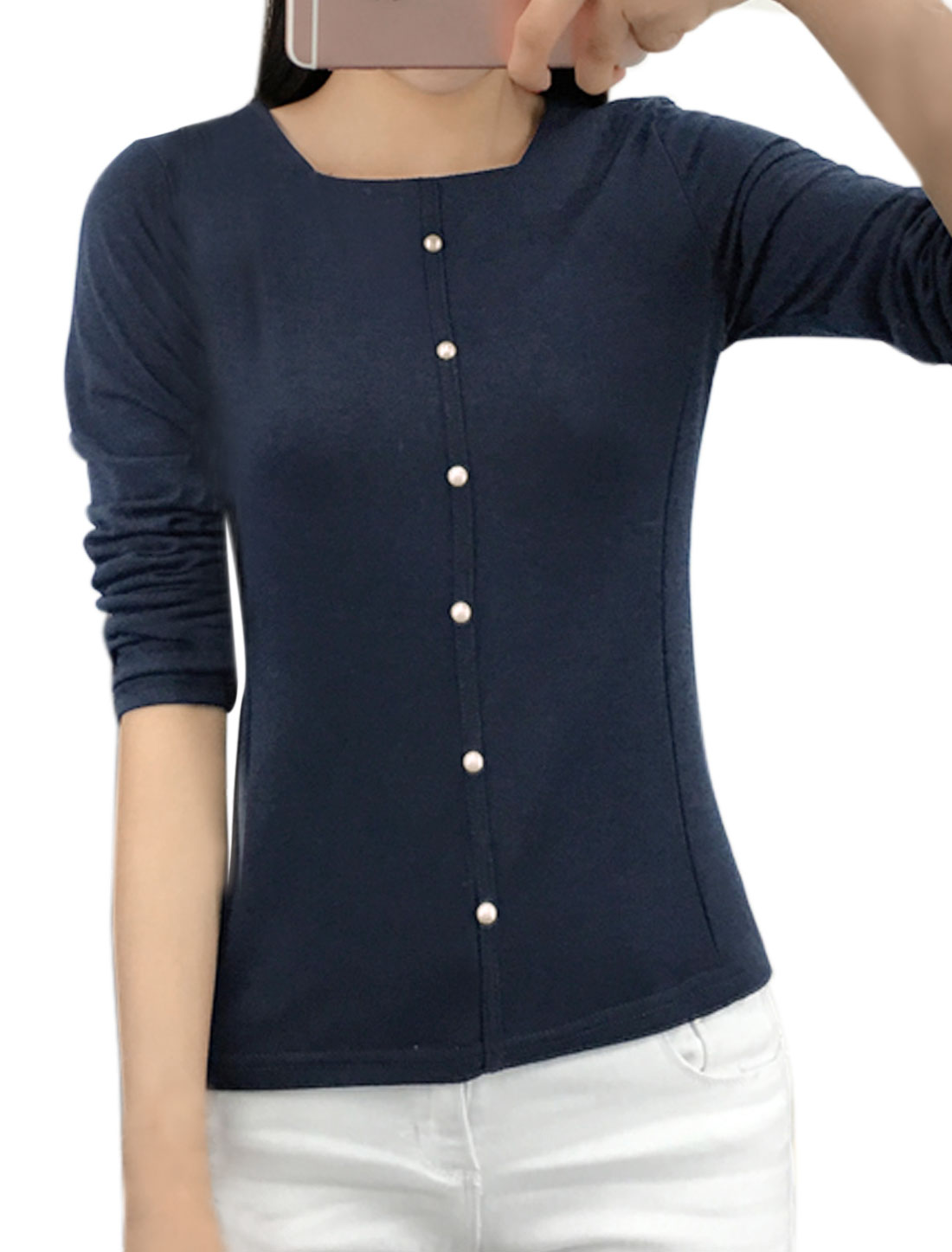 Ladies Square Neckline Beaded Slim Fit T-Shirt Blue M