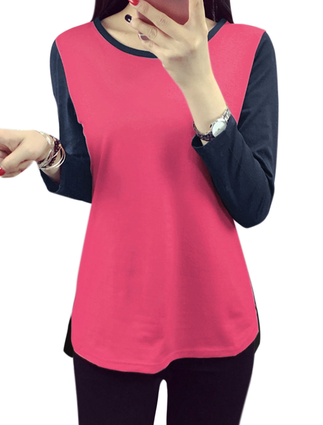 Women Long Sleeves Contrast Color Tee Shirt Pink L