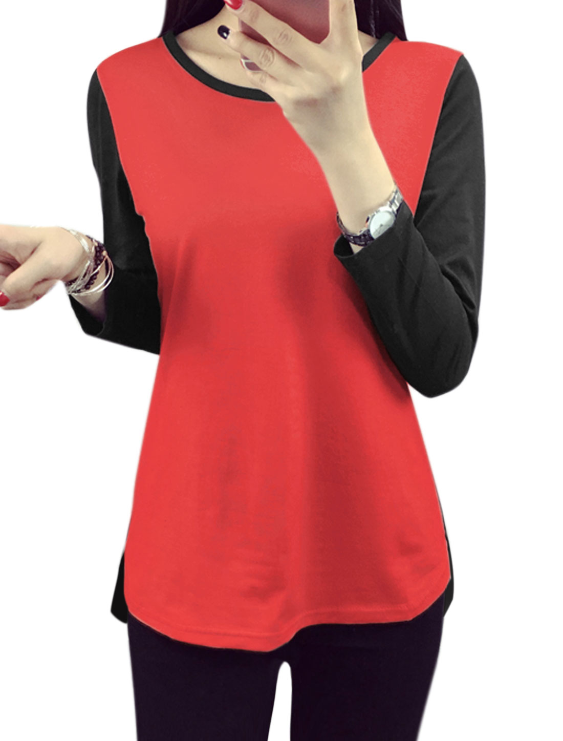 Women Long Sleeves Contrast Color Tee Shirt Red L