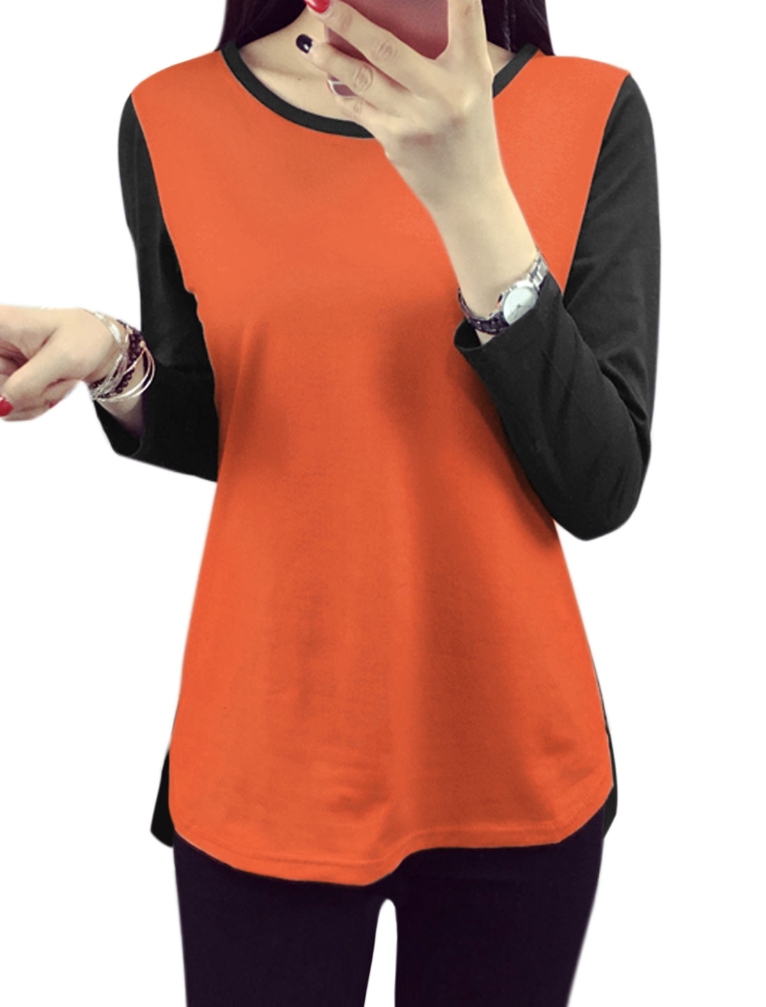Women Long Sleeves Contrast Color Tee Shirt Orange L