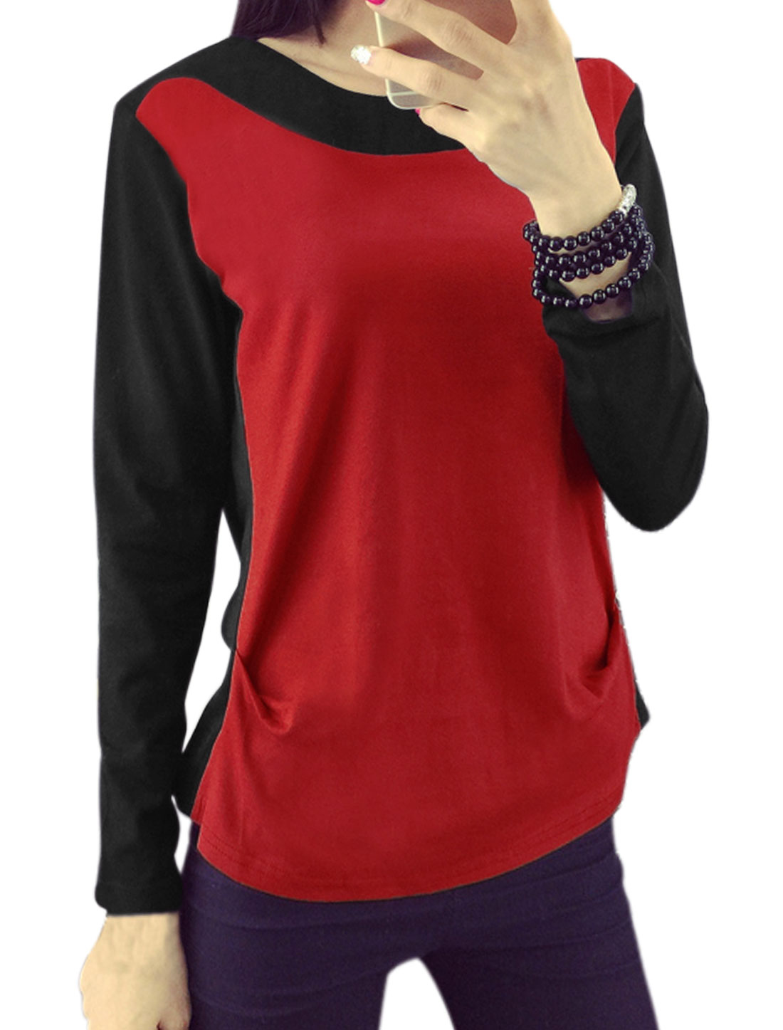 Women Round Neck Long Sleeves Color Block T-Shirt Red M
