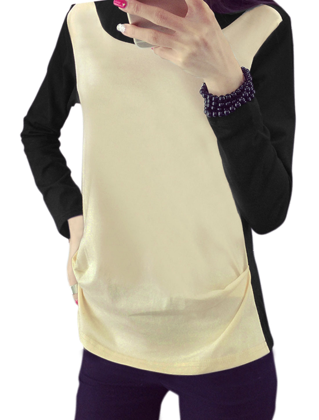 Women Round Neck Long Sleeves Color Block T-Shirt Beige M