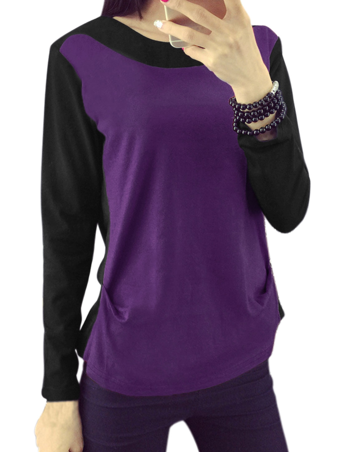 Women Round Neck Long Sleeves Color Block T-Shirt Purple M