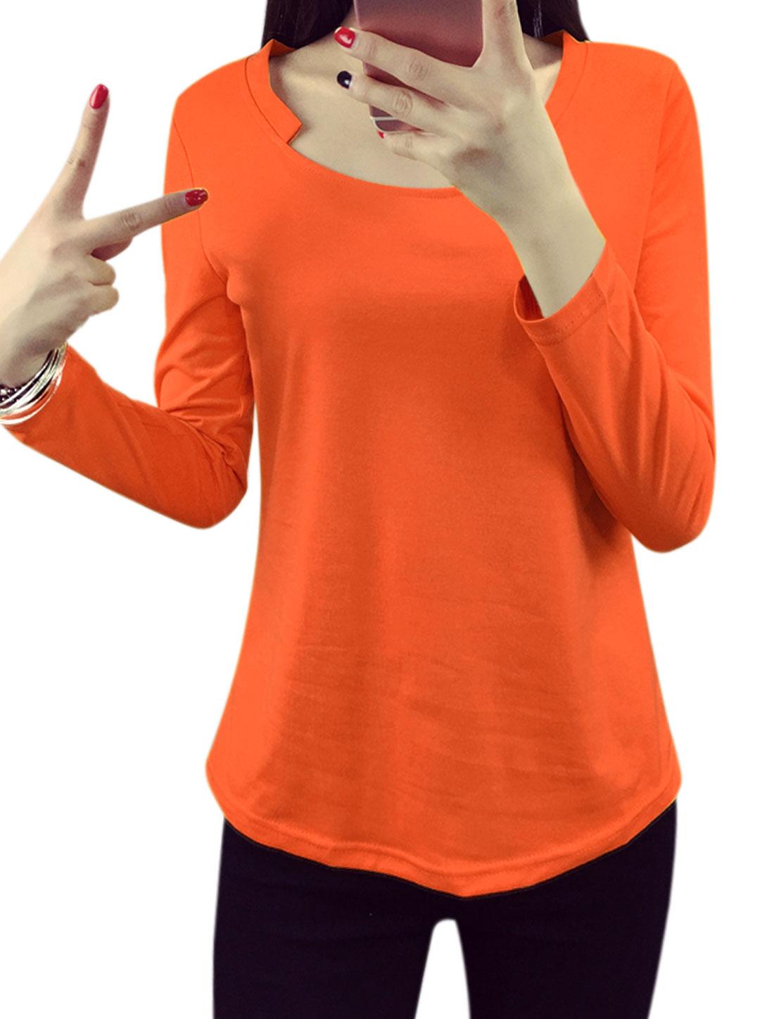 Women Asymmetric Neck Long Sleeves Tee Shirt Orange L