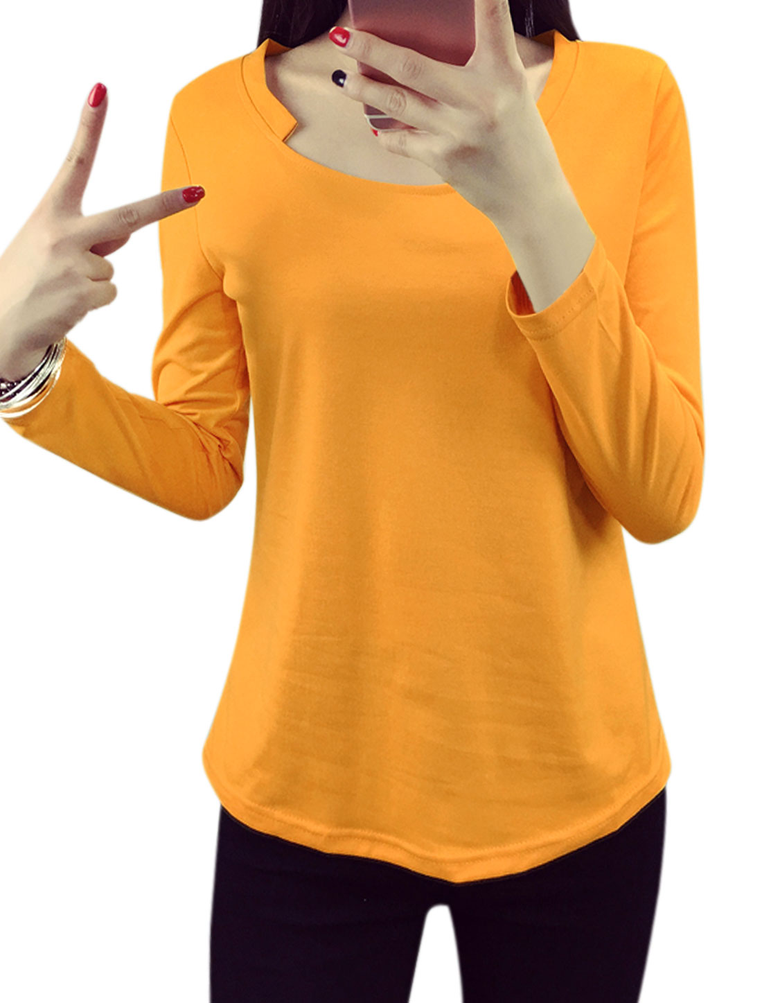 Women Asymmetric Neck Long Sleeves Pullover Tee Shirt Yellow L