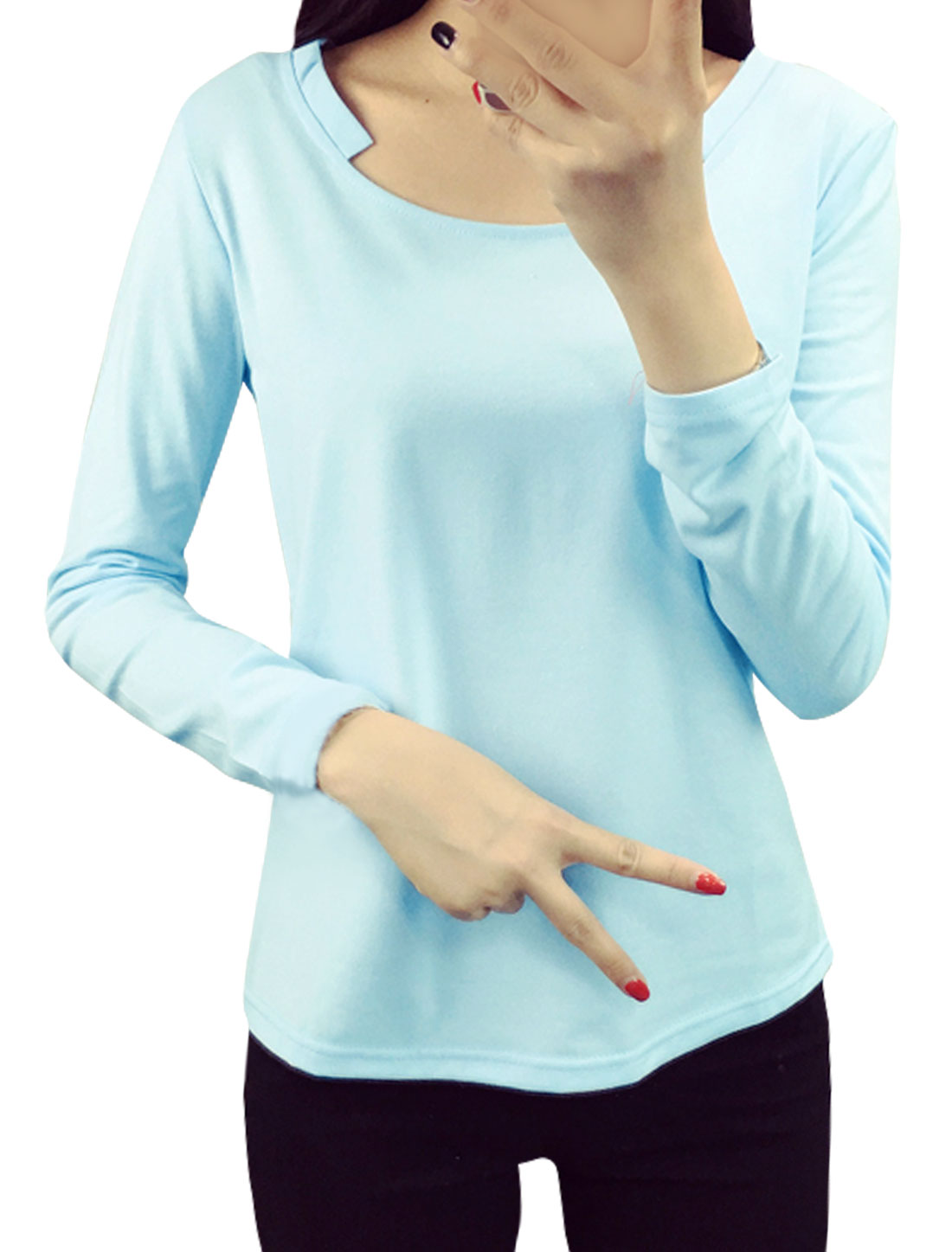 Women Asymmetric Neck Long Sleeves Pullover Tee Shirt Blue L