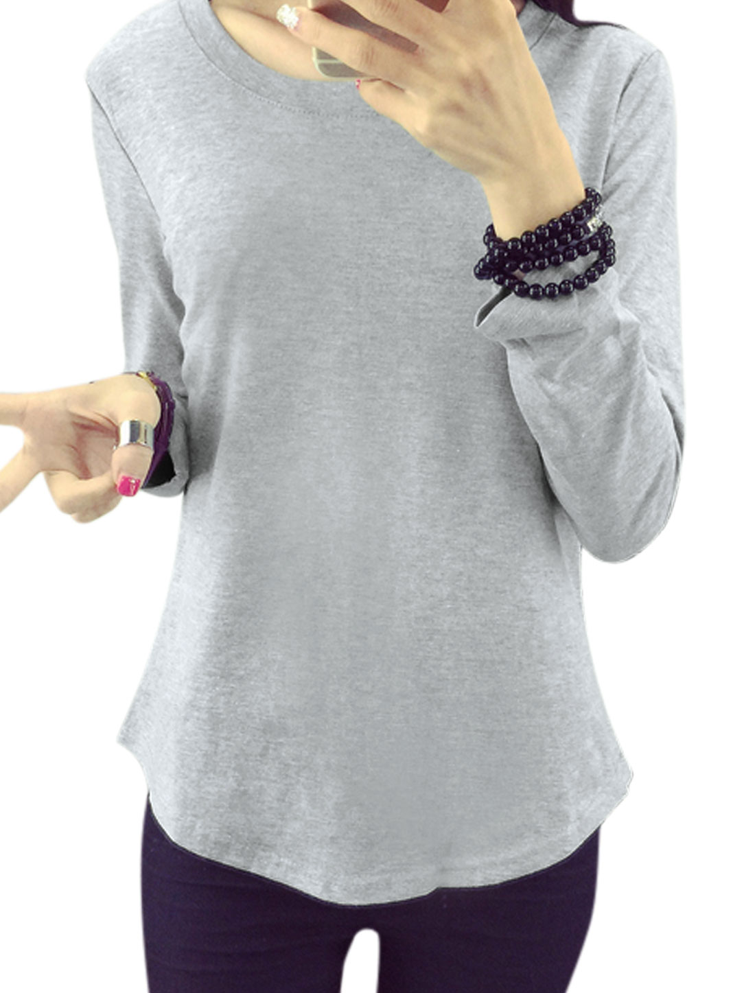 Women Round Neck Long Sleeves Tee Shirt Gray M