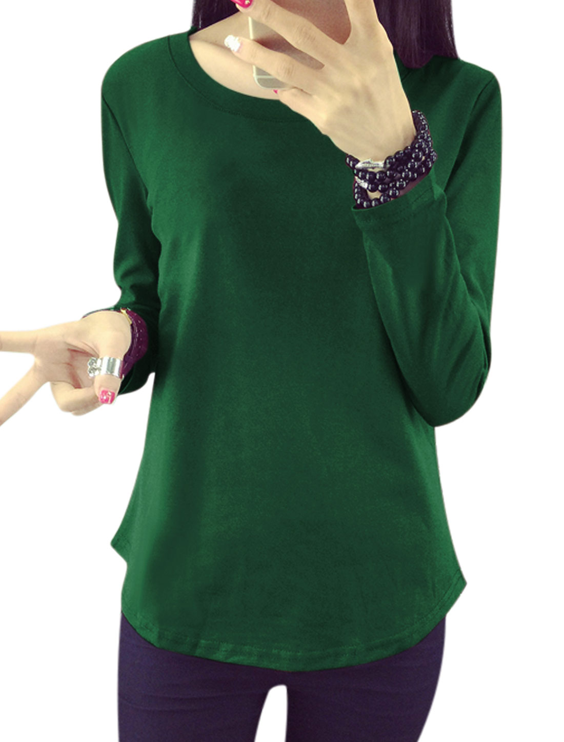 Women Round Neck Long Sleeves Pullover Tee Shirt Green M
