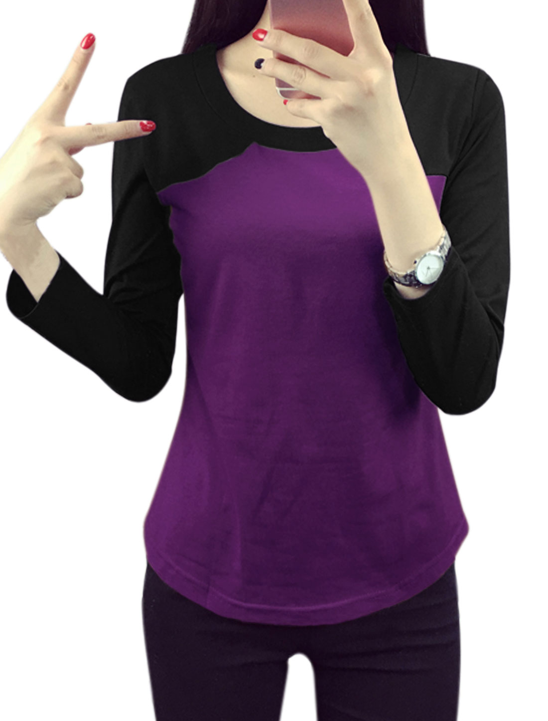 Ladies Round Neck Color Block Slim Fit Tee Shirt Purple M