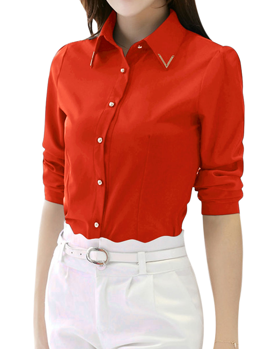 Woman Metal Decor Collared Long Sleeves Slim Fit Shirt Red M
