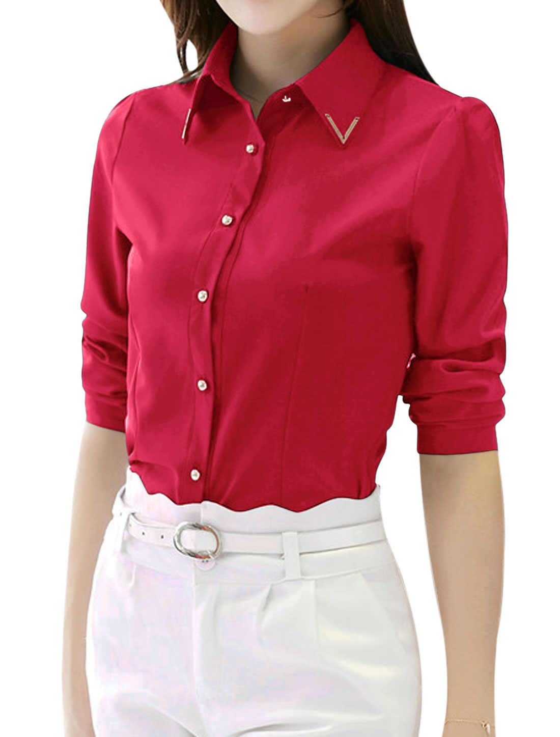 Woman Metal Decor Collared Long Sleeves Slim Fit Shirt Pink M