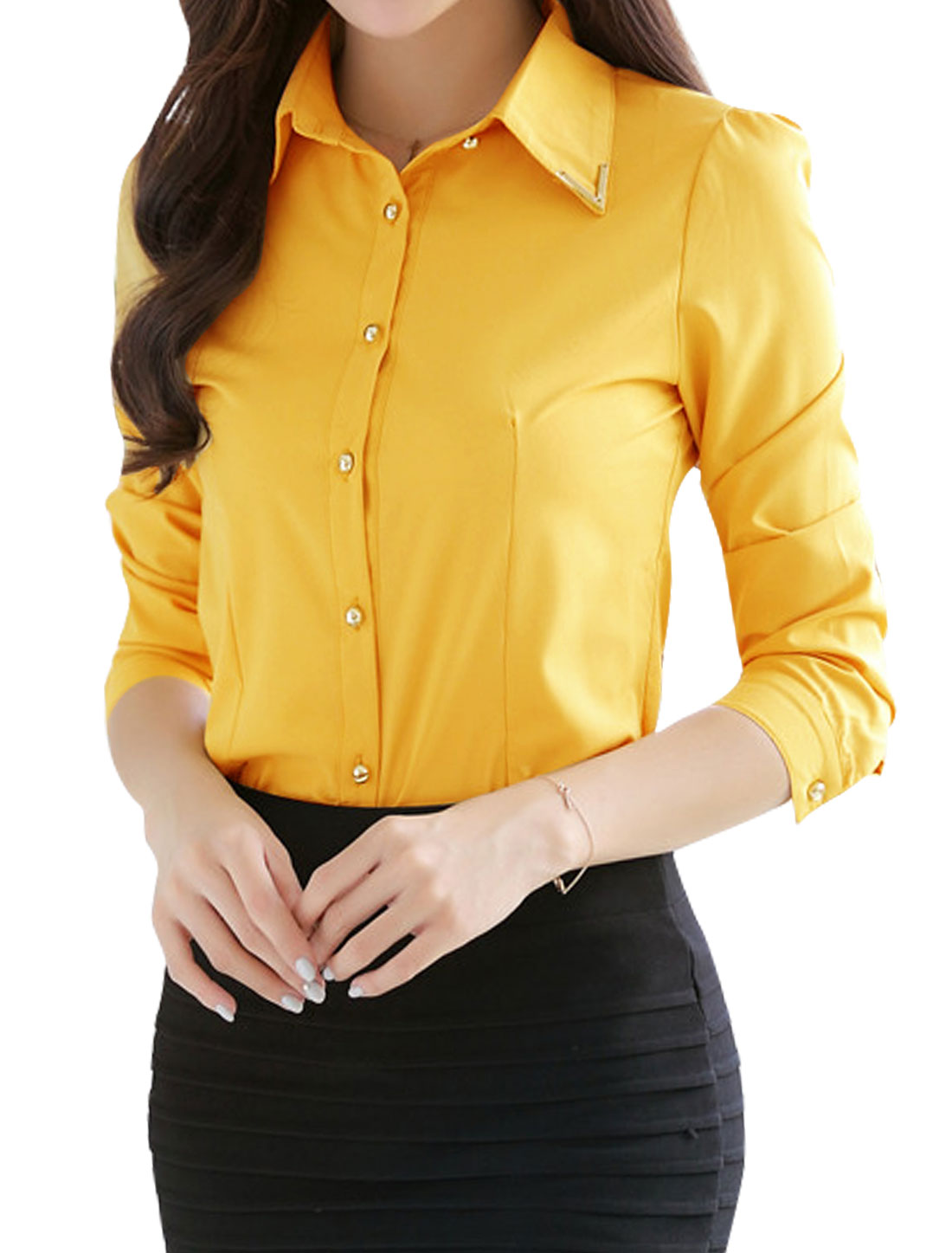 Woman Metal Decor Collared Long Sleeves Slim Fit Shirt Yellow M